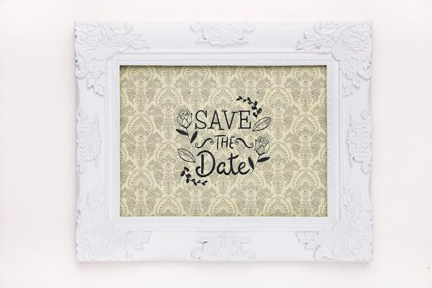 Рамка с винтажным дизайном сохранить макет даты Бесплатные Psd