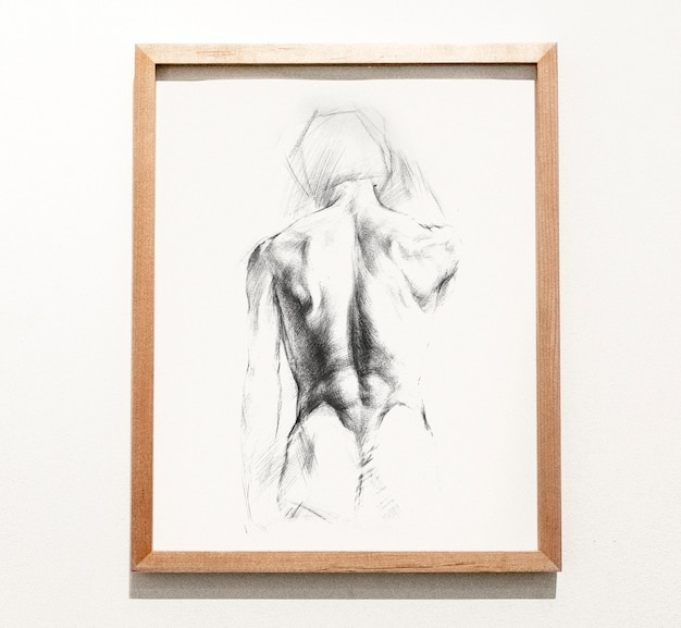 Framed sketch of a man's back Free Psd