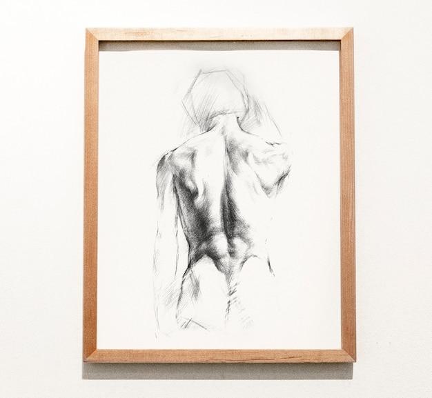 Обрамленный эскиз мужской спины Бесплатные Psd