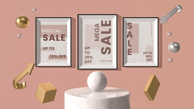 Frames 3d mock-up hanging on wall Free Psd