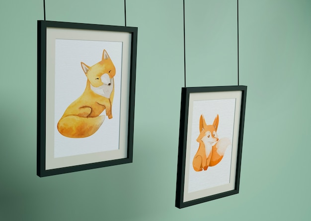 Frames hanging with fox draw Free Psd