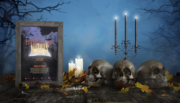 Frames horror poster with candles and skulls Free Psd