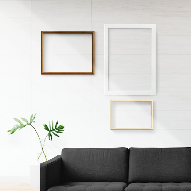 Frames in a living room Free Psd