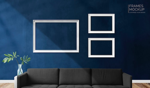Frames in a living room Premium Psd
