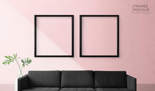 Frames on a pink wall Free Psd