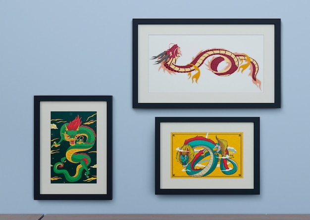 Frames on wall with snake design Free Psd