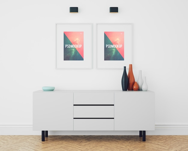 Frames on white chest of drawers mock up Free Psd