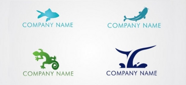Free animal logo design template set Free Psd