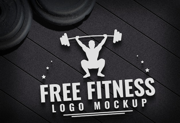 Free fitness logo mock up gym carpet background Premium Psd