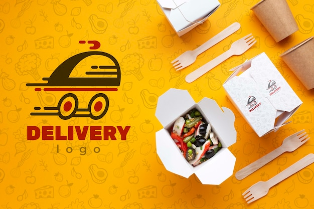 Free food delivery composition with mock-up Free Psd