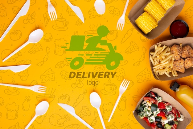 Free food service arrangement with background mock-up Free Psd