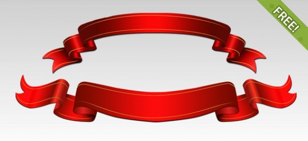 Free PSD Red Ribbons Free Psd