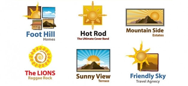 Free Sun Logo Template Set PSD File