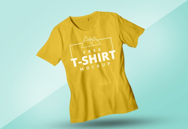 Free yellow tshirt mock up male and female Premium Psd