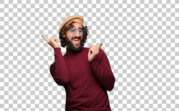 French artist with a beret dancing Premium Psd