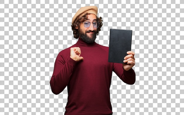 French artist with a beret holding a book Premium Psd
