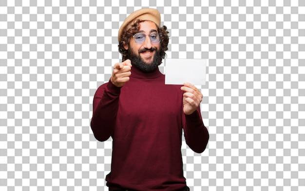 French artist with a beret and holding a placard Premium Psd
