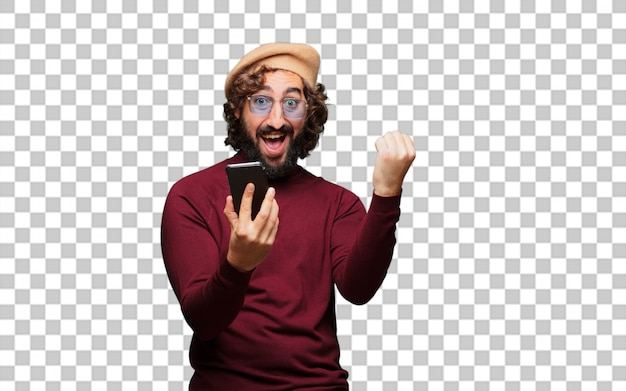 French artist with a beret and a mobile phone Premium Psd
