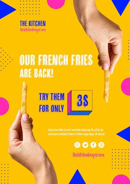 French fries are back presentation menu Free Psd