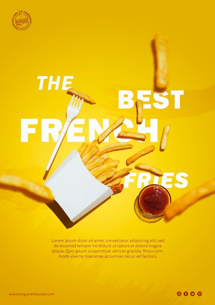 French fries and sauce template Free Psd