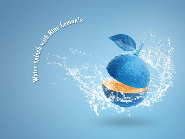 Свежая голубая известка изолированная над голубой предпосылкой. Premium Psd