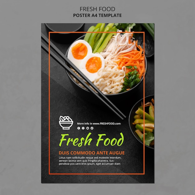 Fresh food ad template flyer Free Psd
