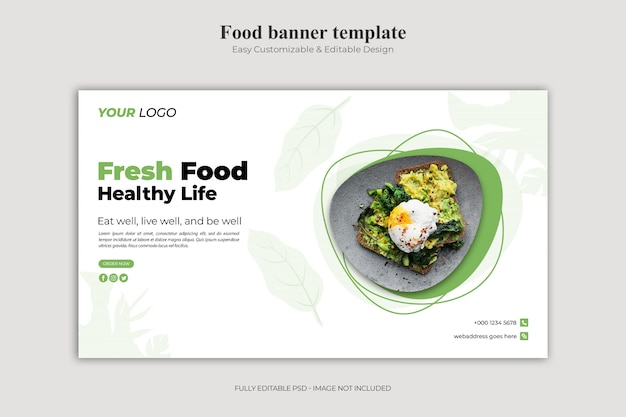 Fresh food and healthy life landing page template Premium Psd