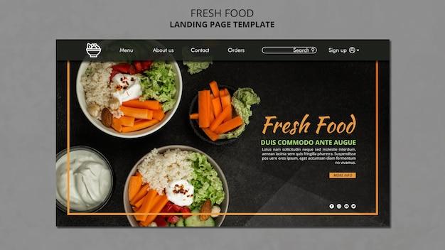 Pagina di destinazione del modello di cibo fresco Psd Gratuite