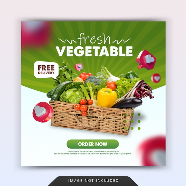 Fresh grocery vegetable delivery social media post promotion template Premium Psd