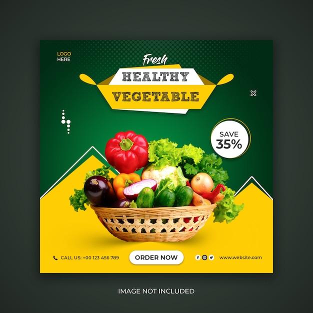 Fresh healthy food social media banner template Premium Psd