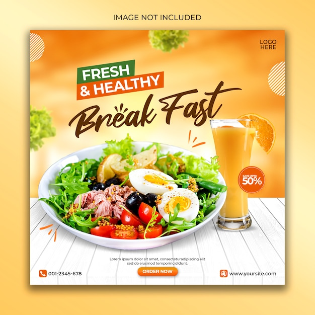 Шаблон баннера в социальных сетях свежей здоровой пищи Premium Psd