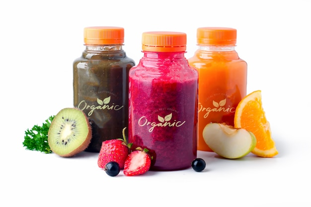 Fresh and healthy fruit  vegetable juices Premium Psd