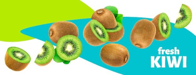 Свежие фрукты киви с изолированными листьями Premium Psd