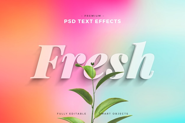 Fresh leaves text effect mockup Premium Psd