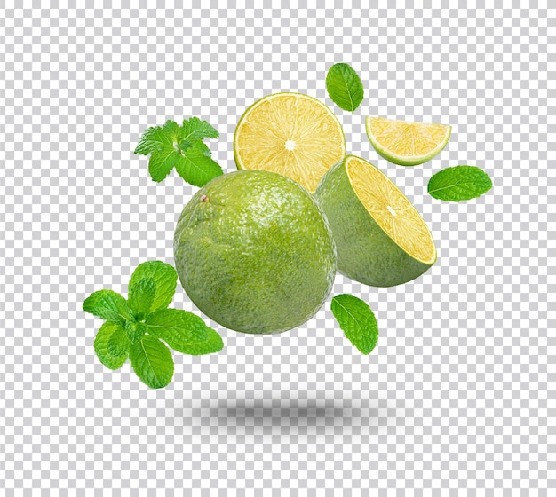 Fresh lime with mint leaves isolated Premium Psd