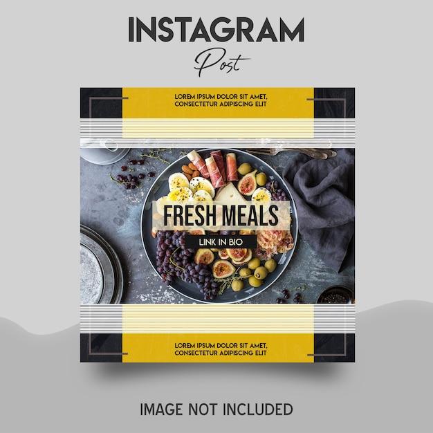 신선한 식사 Instagram 게시물 템플릿 프리미엄 PSD 파일