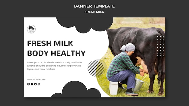 Fresh milk banner template with photo Free Psd