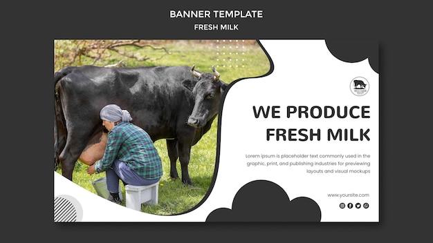 Fresh milk banner template Free Psd