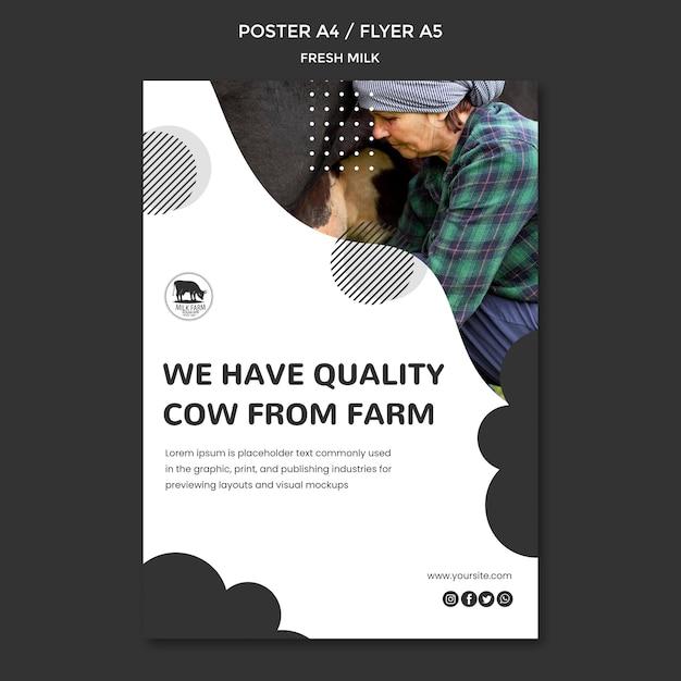 Fresh milk flyer template Free Psd