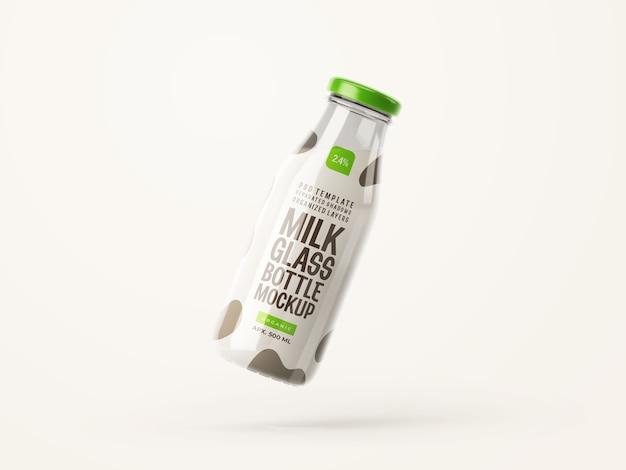 신선한 우유 유리 병 모형 프리미엄 PSD 파일