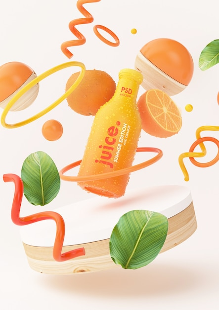 Fresh orange juice mockup with abstract objects Free Psd