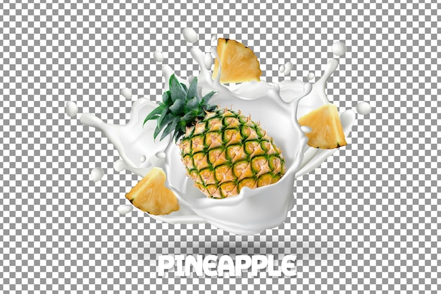 Fresh pineapple with milk yogurt splash Premium Psd