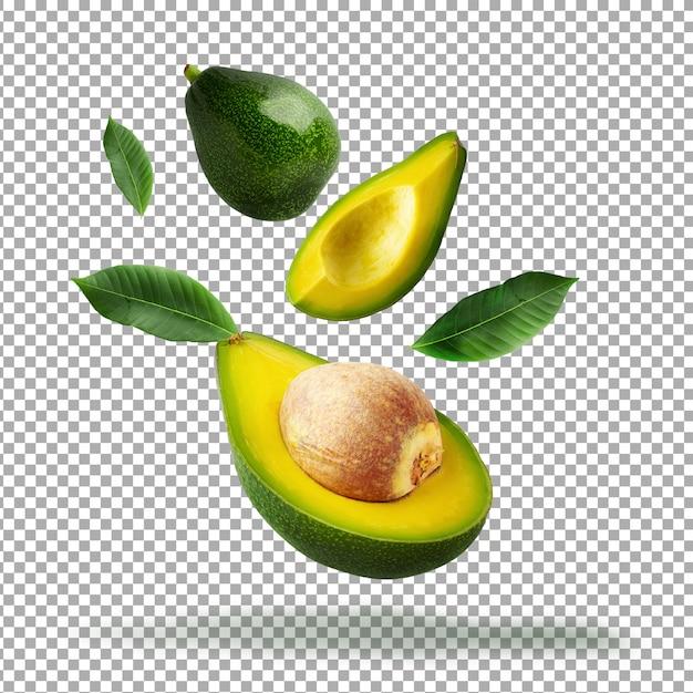 Свежий нарезанный зеленый авокадо изолированные Premium Psd