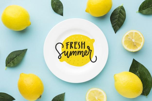 Fresh summer mock-up with lemons Premium Psd