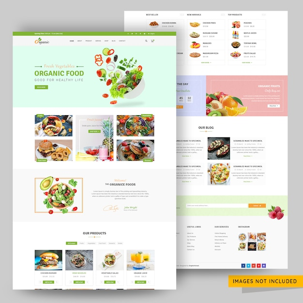 Fresh vegetable and organic food online store website template Premium Psd
