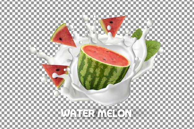 Fresh watermelon and watermelon slices with milk yogurt splash isolated Premium Psd