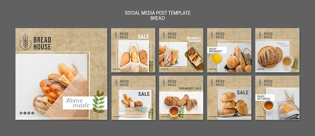 Freshly baked bread posts templates Free Psd