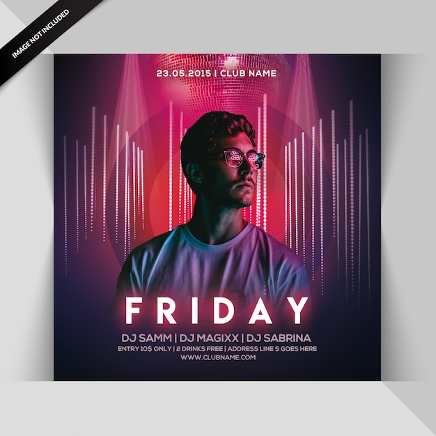 Friday night flyer for instagram Premium Psd