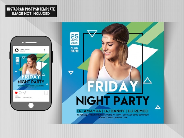 Friday night party flyer for instagram Premium Psd