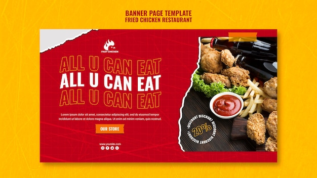 Fried chicken all you can eat banner template Free Psd